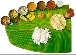 South Indian Meals on the Banana leaf