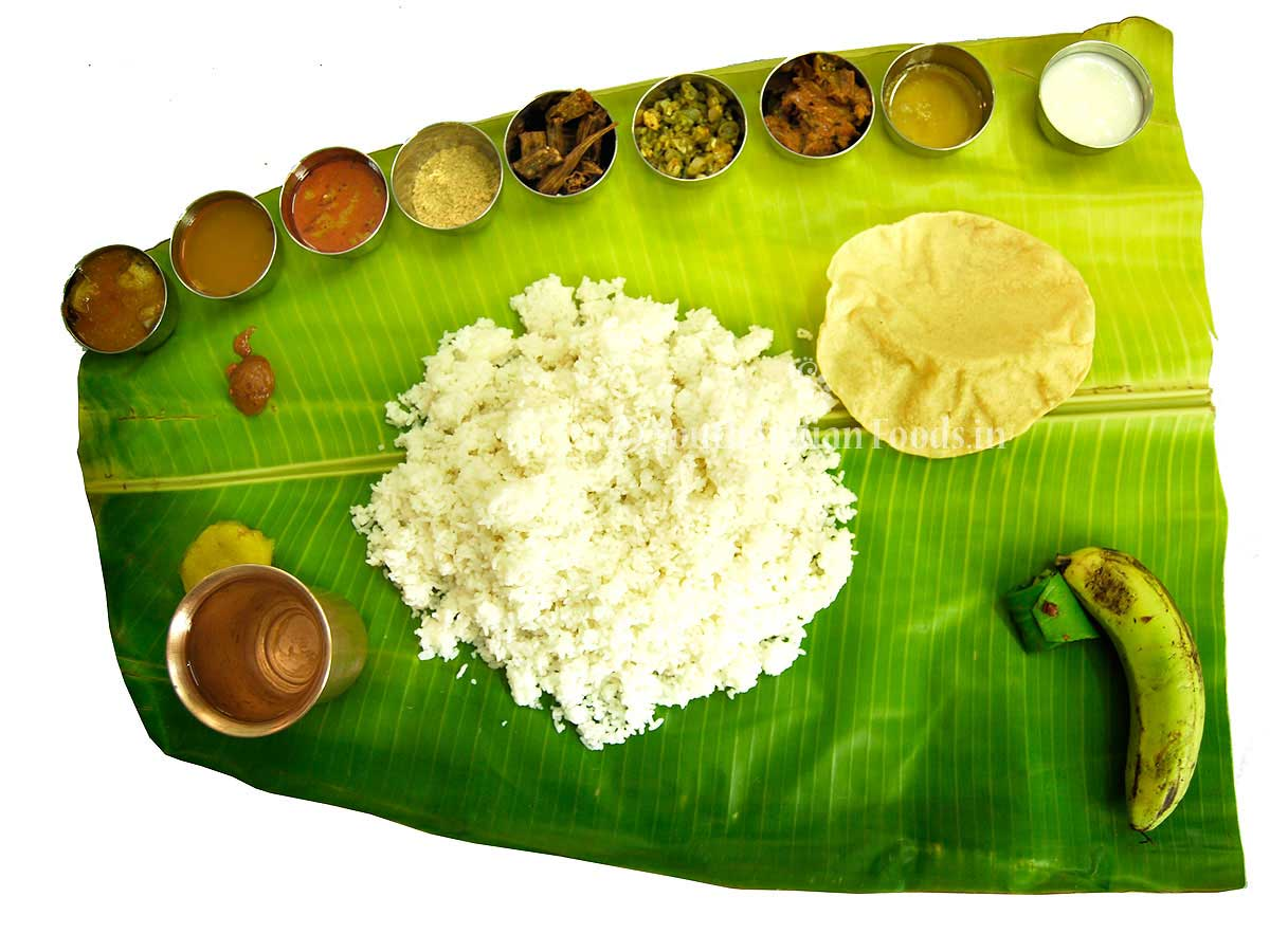 South indian meals south indian plantain leaf meals for Aharam traditional cuisine of tamil nadu